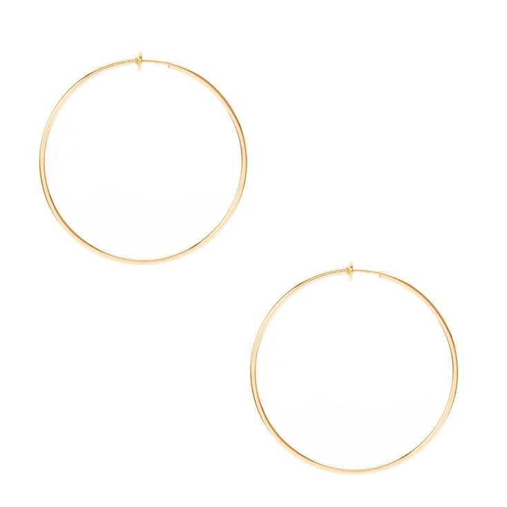 Gold 60MM Clip On Hoop Earrings,