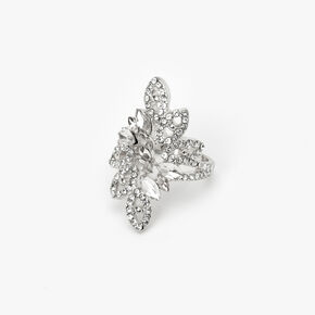 Silver Embellished Flower Burst Ring,