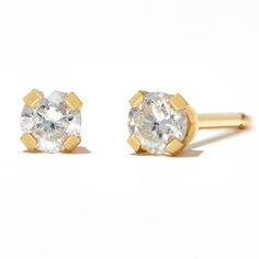 Round Diamond Stud Earrings 1/10 ct tw 14kt Yellow Gold