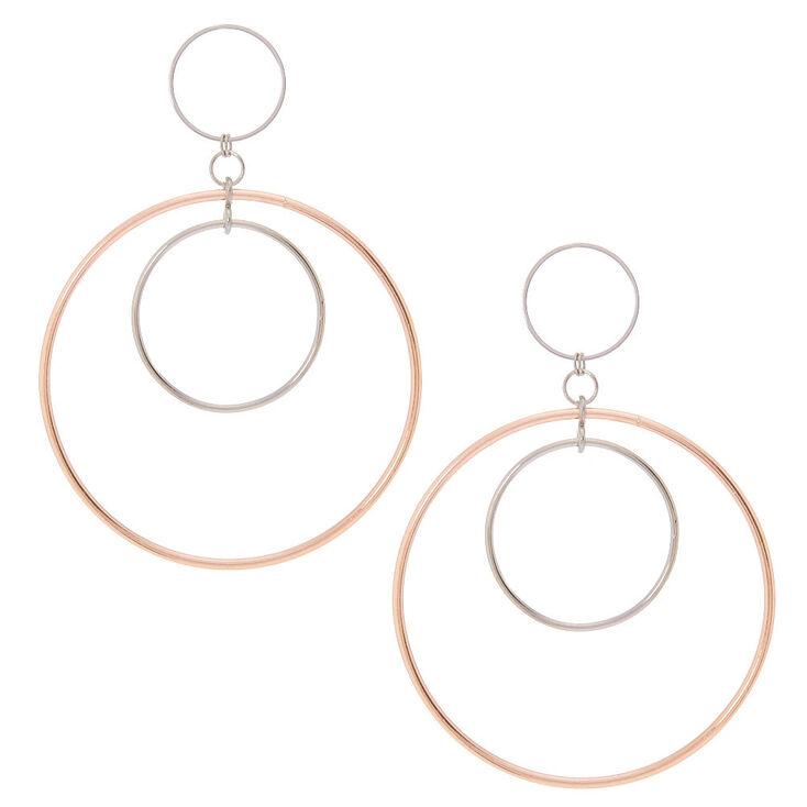Rose Gold Silver Triple Hoop Drop Earrings