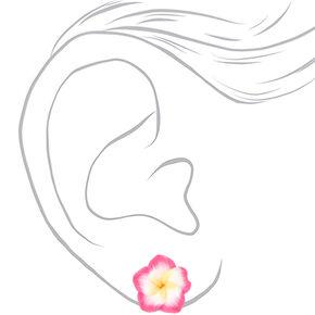 Clous d'oreilles motif fleur d'hibiscus - Rose,