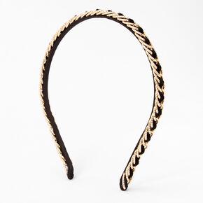 Serre-tête tressé chaîne couleur dorée et imitation velours noir,