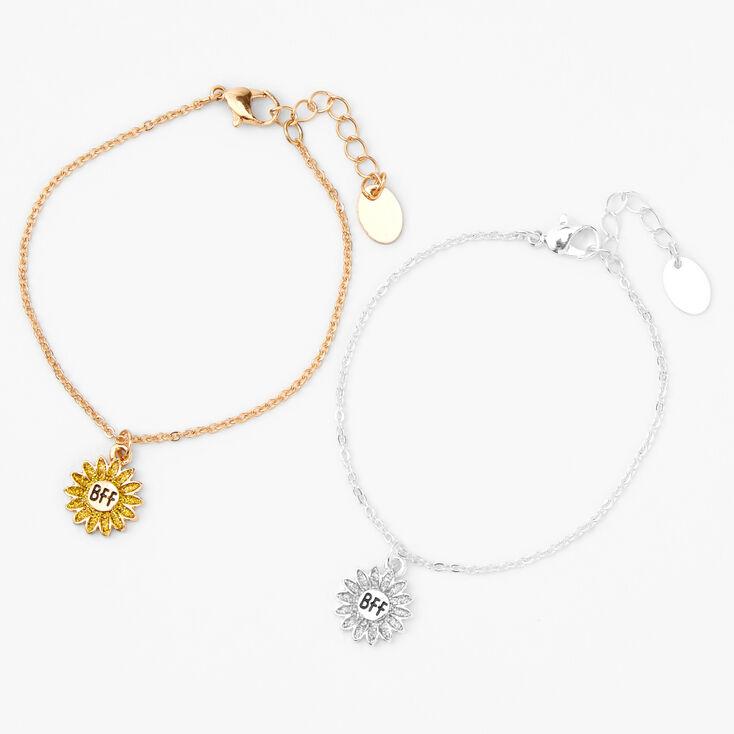 Best Friends Mixed Metal Sunflower Bracelets - 2 Pack,