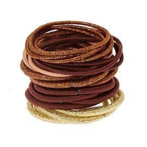 Golden Brown Lurex Hair Ties - 30 Pack,