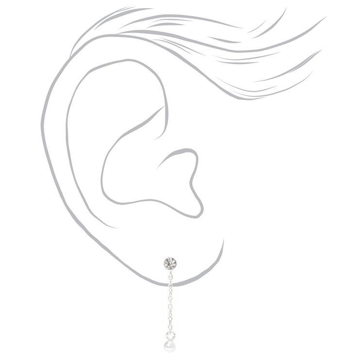 "Sterling Silver 1"" Crystal Pearl Chain Drop Earrings,"