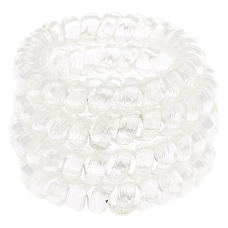 Spiral Hair Bobbles - Clear, 4 Pack,