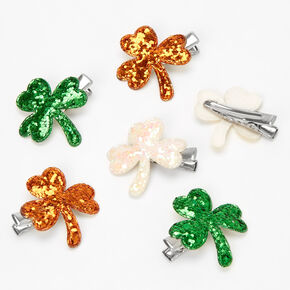 Glitter Shamrock Hair Clips - 6 Pack,