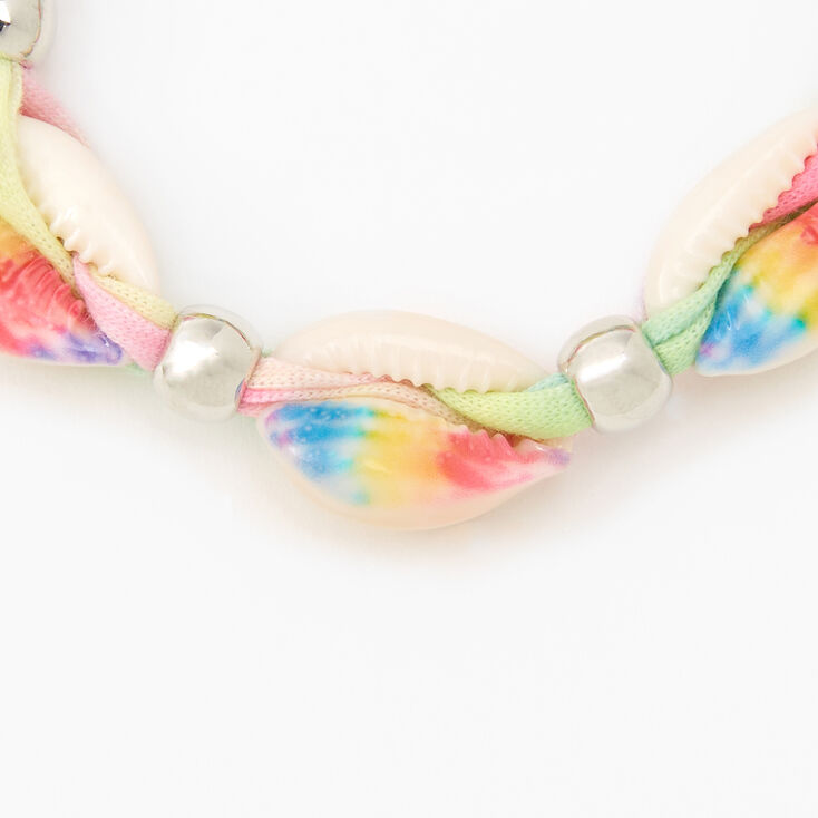 Pastel Tie Dye Cowrie Shell Adjustable Fabric Bracelet,