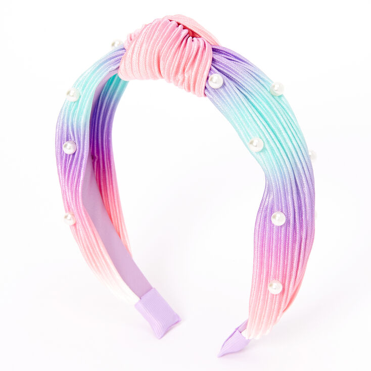 Claire's Club Pearl Pleated Pastel Rainbow Knotted Headband,