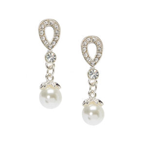 "Crystal 1"" Teardrop Pearl Drop Earrings,"