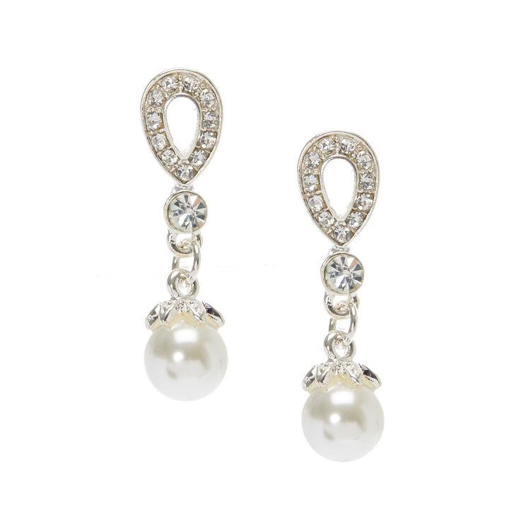 "Crystal 1"" Teardrop Pearl Drop Earrings,"
