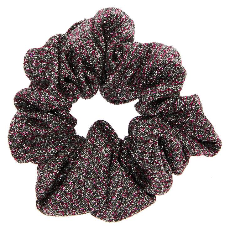 Medium Pink & Grey Lurex Hair Scrunchie,