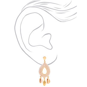 "Gold 3"" Teardrop Seashell Drop Earrings,"