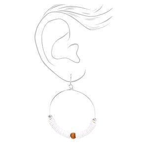 "Silver 2"" Boho Ball & Disc Hoop Earrings - White,"