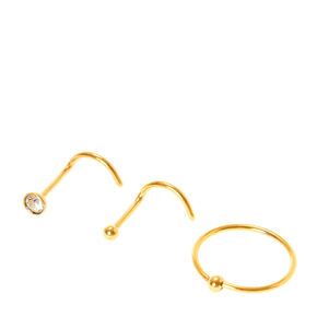 Gold 20G Mixed Stud & Hoop Nose Rings - 3 Pack,