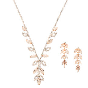 Rose Gold Vine Glass Rhinestone Jewelry Set - 2 Pack,