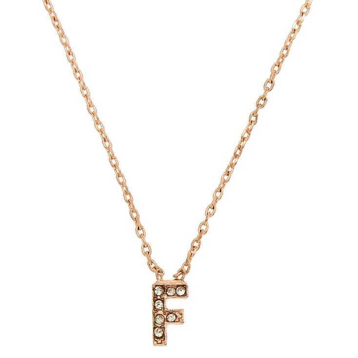 Rose Gold Embellished Initial Pendant Necklace - F,