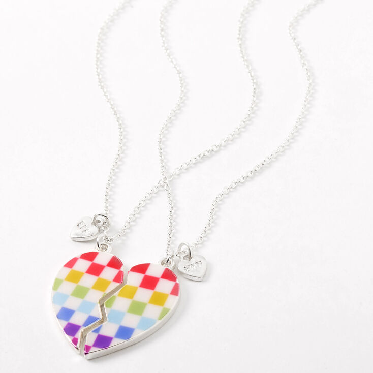 Best Friends Rainbow Checkered Heart Pendant Necklaces - 2 Pack,