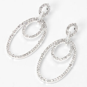 "Silver 2"" Rhinestone Circle Link Drop Earrings,"