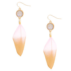 "Gold 3"" Metallic Feather Drop Earrings - Pink,"