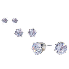 Silver Cubic Zirconia Round Stud Earrings - 4MM, 6MM, 9MM,