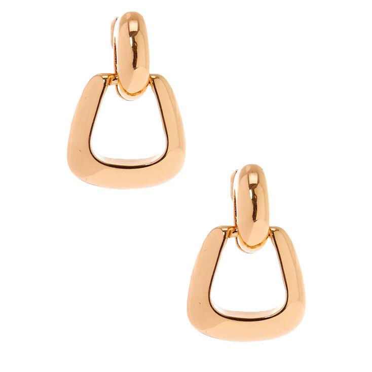 Gold Chunky Clip On Hoop Earrings,