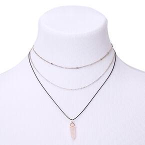 Healing Stone Multi Strand Necklace - Light Pink,