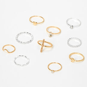 Mixed Metal Faux Crystal Textured Rings - 10 Pack,