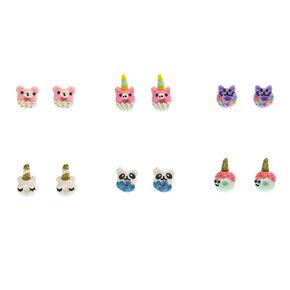 Animal Donut Stud Earrings - 6 Pack,