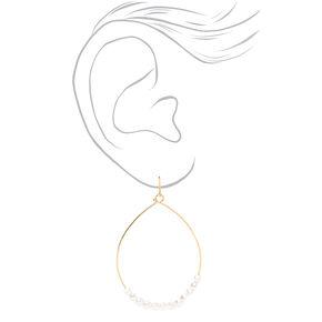 """Gold 2"""" Pearl Wire Teardrop Drop Earrings - Ivory,"""