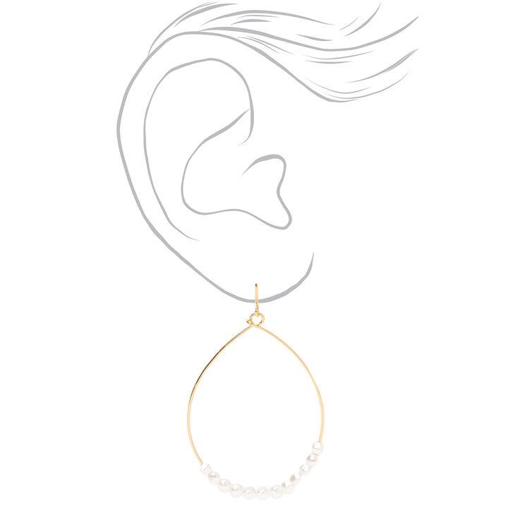 Pendantes en gouttes fil métallique perle d'imitation 5cm couleur dorée - Couleur ivoire,