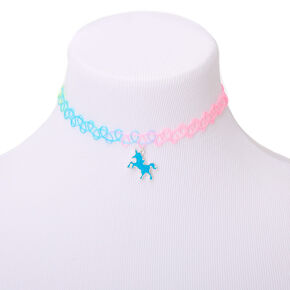 Pastel Glow In The Dark Unicorn Tattoo Choker Necklace,