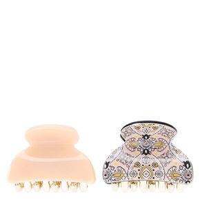 Paisley Print Mini Hair Claws - Blush Pink,