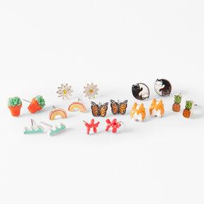 Happy Cat & Corgi Stud Earrings - 9 Pack,