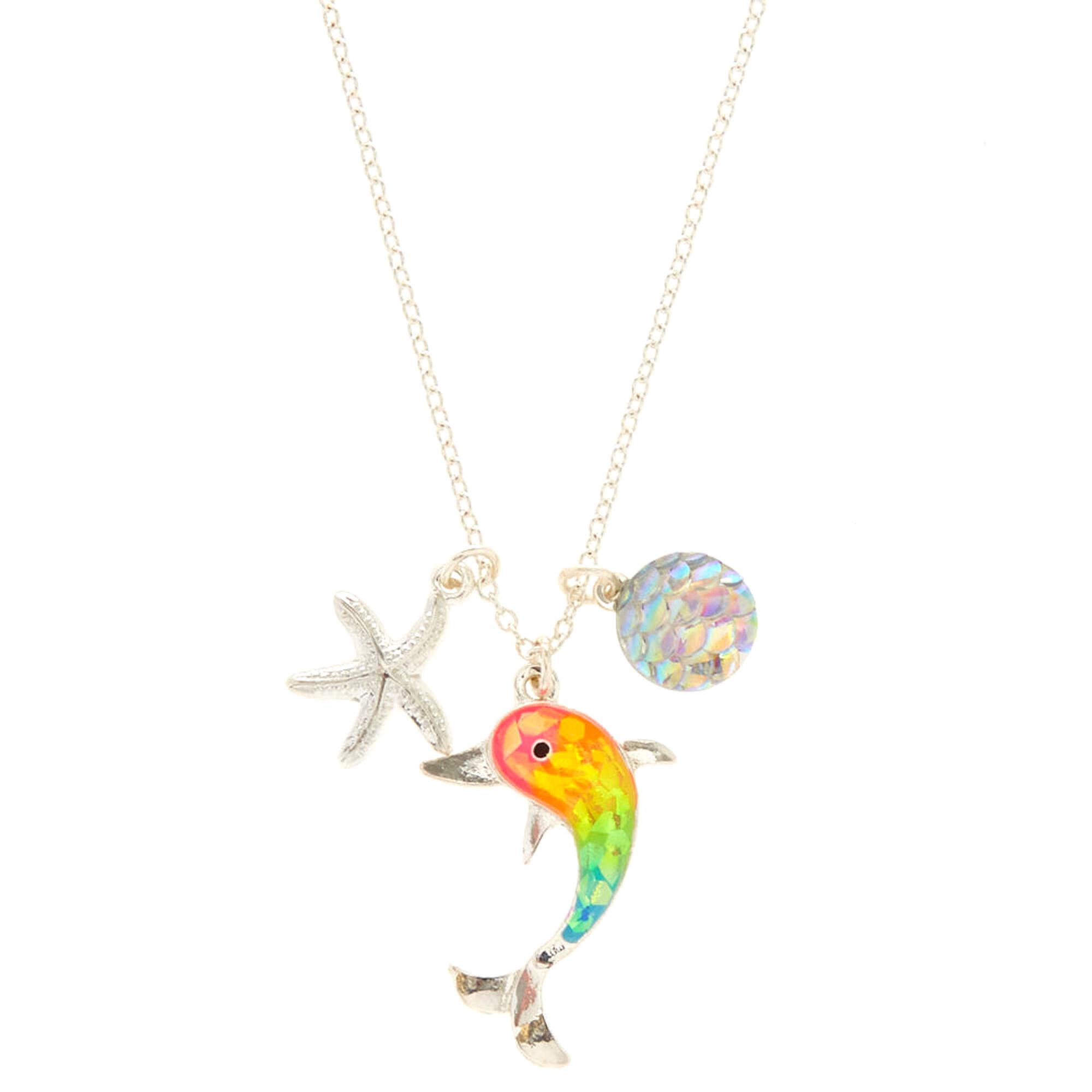 Rainbow holographic dolphin pendant necklace claires us rainbow holographic dolphin pendant necklace aloadofball Gallery