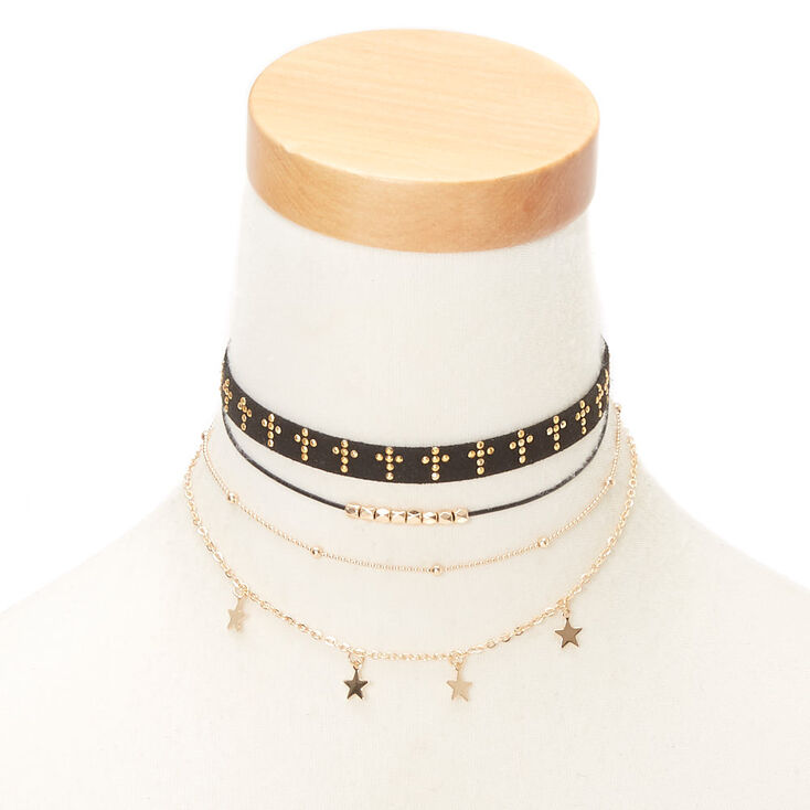 Gold Spiritual Choker Necklaces - Black, 5 Pack