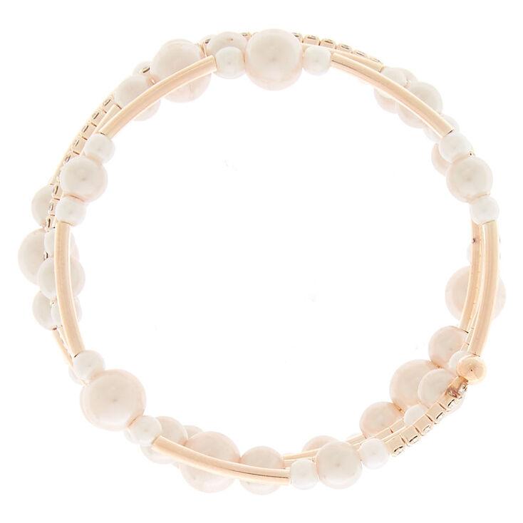 Rose Gold Pearl Orbit Wrap Bracelet,