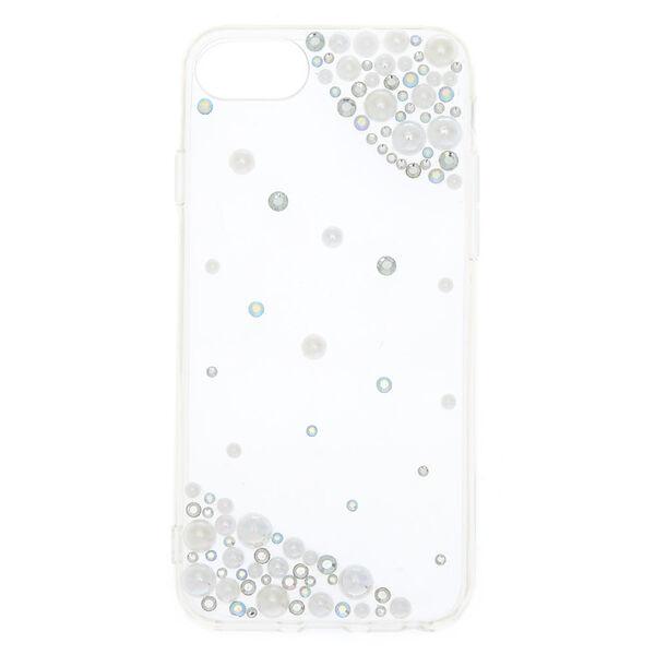 Claire's - iridescentstones + faux pearl phone case - 1