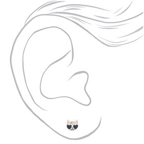 Cool Cat Stud Earrings - White,
