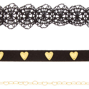 Gold Heart Choker Necklaces - 3 Pack,