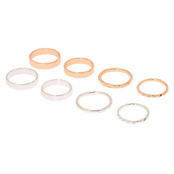 Mixed Metal Simplicity Rings - 8 Pack,