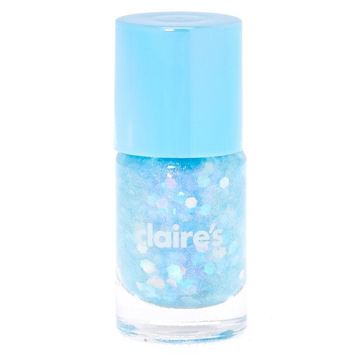 Vernis à ongles pailleté - Bleu pastel,