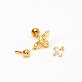 Clous d'oreilles pour piercing de cartilage abeille, strass et boule 1,3mm couleur dorée - Lot de 3,