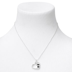Silver Panda Heart Pendant Necklace,
