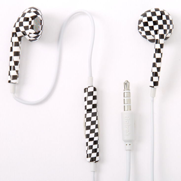 Checkered Earbuds with Mic,