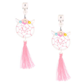 "2"" Unicorn Dreamcatcher Clip On Drop Earrings - Pink,"