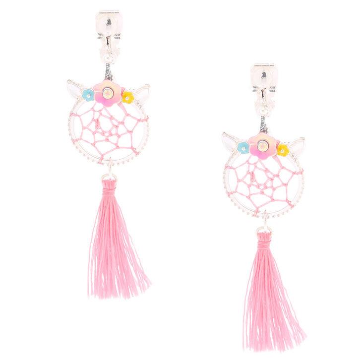 """2"""" Unicorn Dreamcatcher Clip On Drop Earrings - Pink,"""