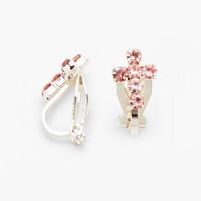 Crystal Cross Clip On Stud Earrings - Pink,