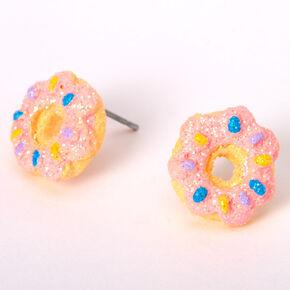 Silver Glitter Donut Stud Earrings - Pink,