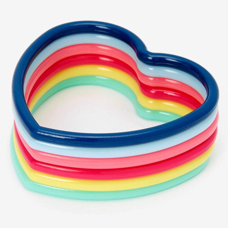 Claire's Club Rainbow Hearts Bangle Bracelets - 6 Pack,